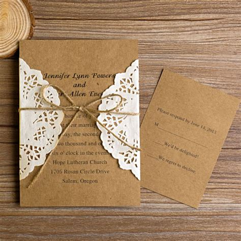 vintage wedding invitations vintage rustic lace pocket wedding invitations ewls002 as