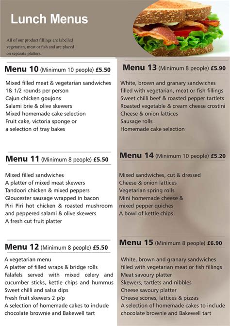 hedleys lunch menus buffet catering sandwich bar