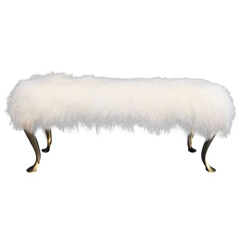 mongolian fur bench mongolian fur and brass bench or footstool for sale at 1stdibs