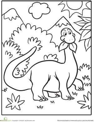 free dinosaur coloring pages preschool cute dinosaur coloring page education com