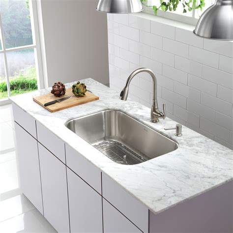 Single Sinks Kitchen Kraus Stainless Steel 16 Undermount 31 5 Quot Single Bowl Kitchen Sink Reviews Wayfair