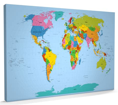 world map canvas map of the world map canvas 34x22 inch m816 ebay