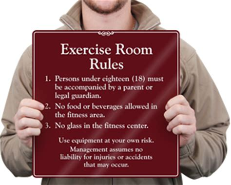 room and board return policy signs fitness room signs health club signs from mydoorsign