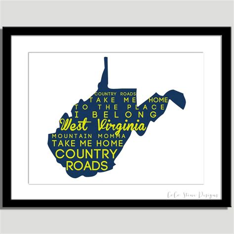 take me home country roads lyrics west virginia print