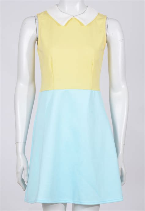 Lyppi Blouse womens wholesale two tone flippy skater dress yellow stylewise direct