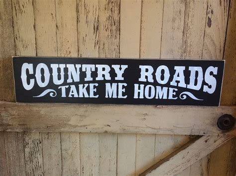 country roads take me home wooden sign 183 blue barn