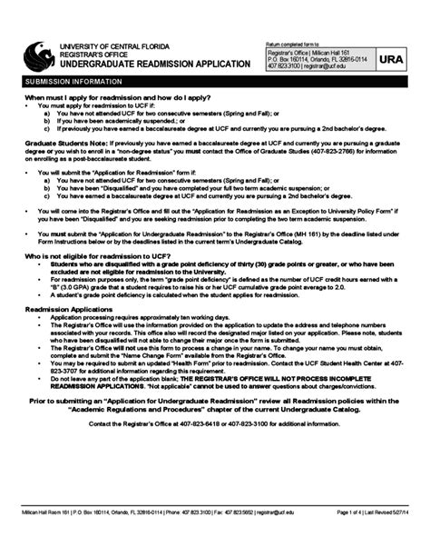 Ucf Registrar S Office by Of Central Florida Application Form For