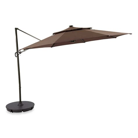 lighted patio umbrellas 11 foot umbrella cantilever offset solar led lighted patio shade awning ebay