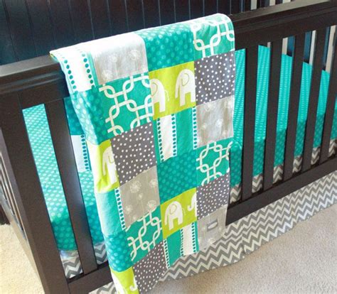 Grey And Turquoise Crib Bedding Custom Crib Bedding Turquoise Grey And Lime Green 2 Reserved For Narla Turquoise Teal