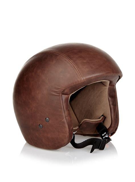 leather motorcycle helmet vintage leather helmet without visor dark brown