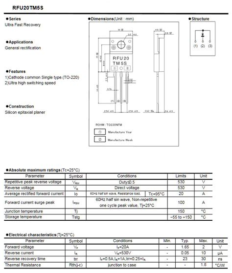Produk Mur1660ct Fast Recovery Diode rfu20tm5s ultra fast recovery 530v 20a