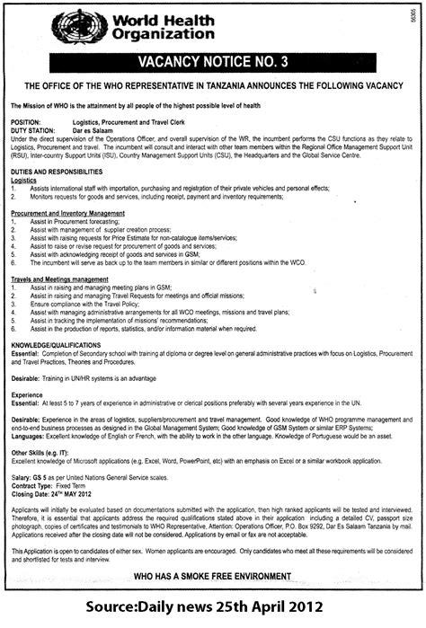 Logistics, Procurement & Travel Clerk   TAYOA Employment