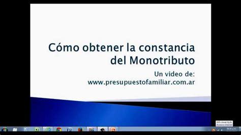Constancia Monotributo | c 243 mo obtener la constancia del monotributo youtube