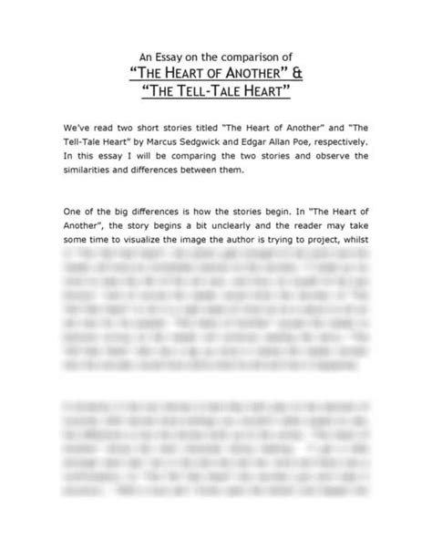 Tell Tale Essay by College Essays College Application Essays The Tell Tale Essay