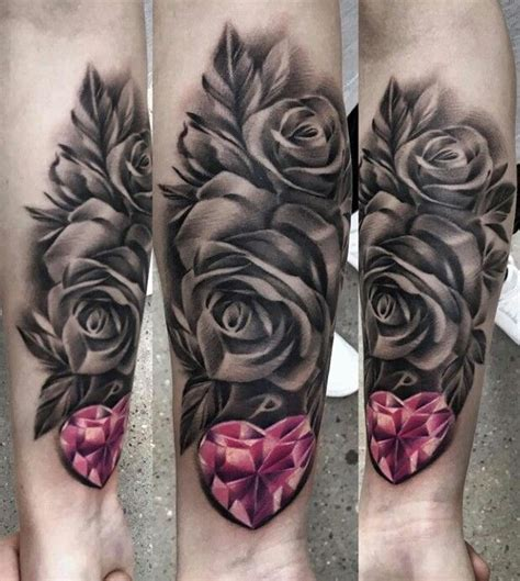 black white and red rose tattoos pink black and white pin 3