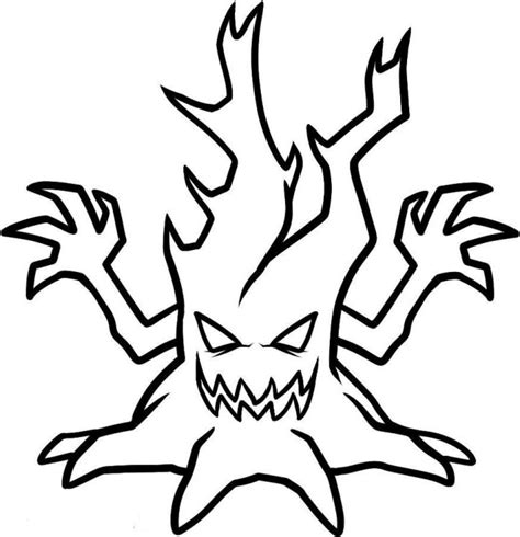 scary tree coloring page scary tree coloring coloring pages