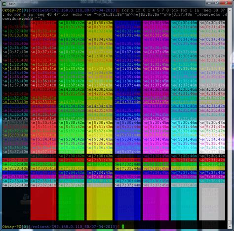 bashe color command line script to display all terminal colors ask