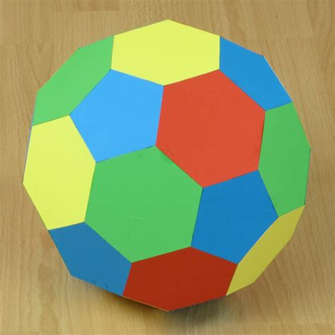 3d Origami Football - paper truncated icosahedron soccer or football