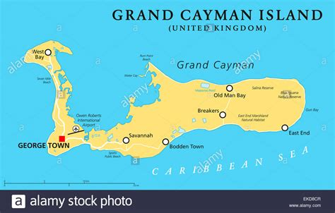 map of cayman islands grand cayman island political map stock photo royalty