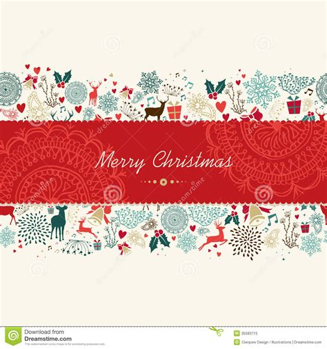 merry christmas vintage pattern greeting card stock vector image