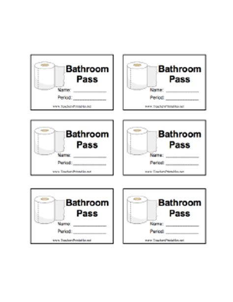 bathroom pass template bathroom pass with name