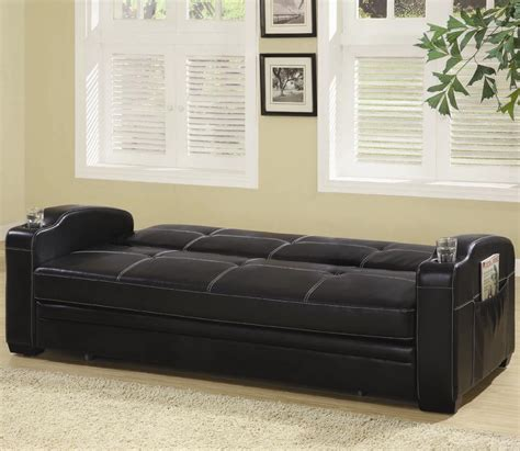 coaster company black sofa bed black faux leather sofa bed with storage and cup holders