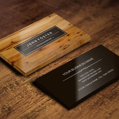 woodworker border wood grain business card