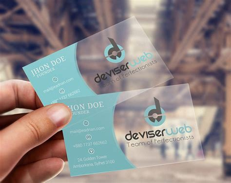 free psd transparent plastic business card psdboom