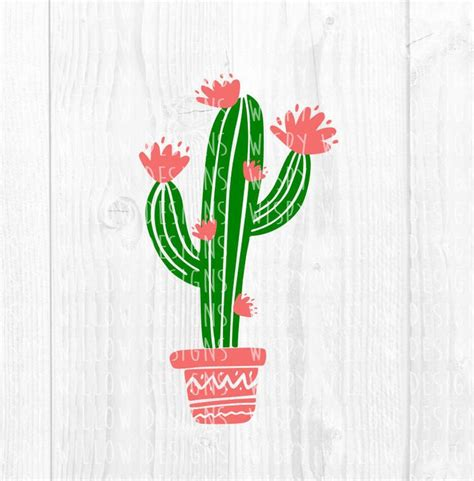 floral cactus svg dxf png eps jpg digital