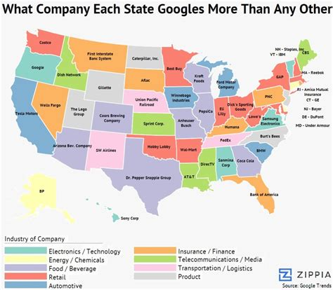states in america here are the most googled companies in each state all
