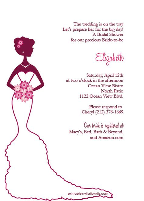 bridal shower invitations create free printable bridal