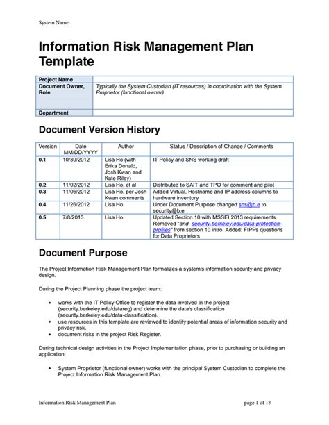 information risk management plan template in word and pdf
