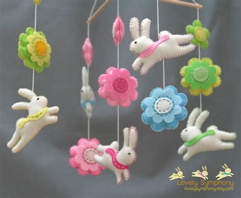 Baby Mobile Handmade - items similar to rabbits and flowers baby mobile bunnies