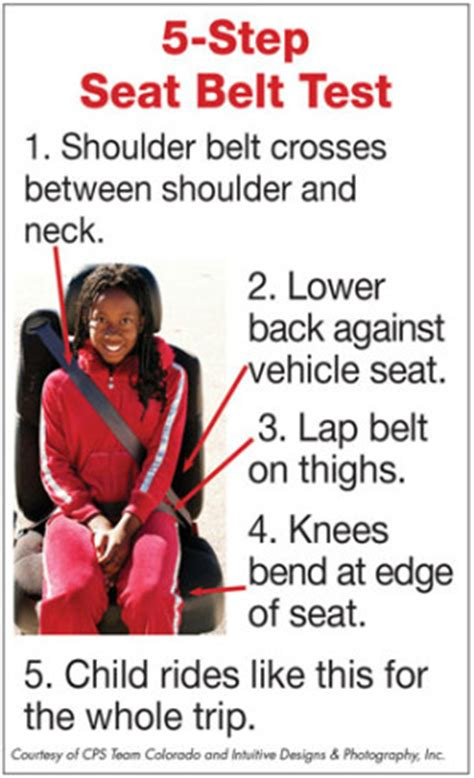 seatbelt use increase 2015 car seat best practices 5 step seat belt fit test