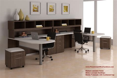 2 person office furniture 2 person l shaped desk and hutch set with mobile file