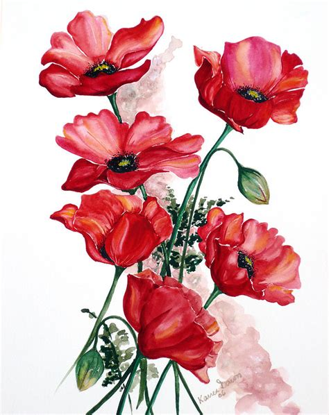 english field poppies painting by karin dawn kelshall best
