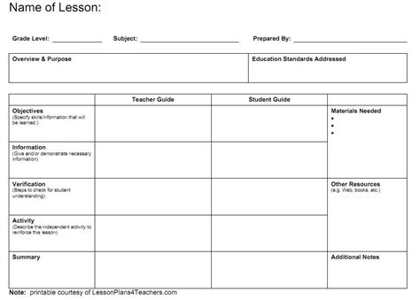 Blank Lesson Plans For Teachers Lesson Plan Templates Engage The Learner School Templates For Teachers