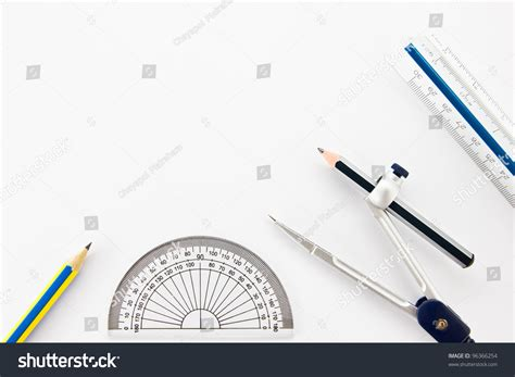 How To Measure The Square Footage Of A House by Pencil Half Circle Ruler Dividers Ruler Stock Photo