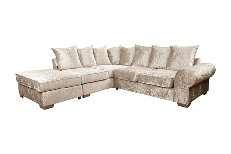 corner velvet sofa crushed velvet corner sofa suite left fabric sofas