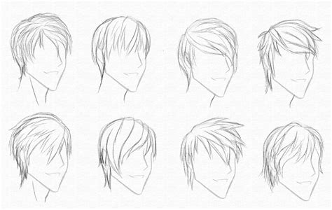 anime hairstyles for guys side view reference for drawing short hair art methods