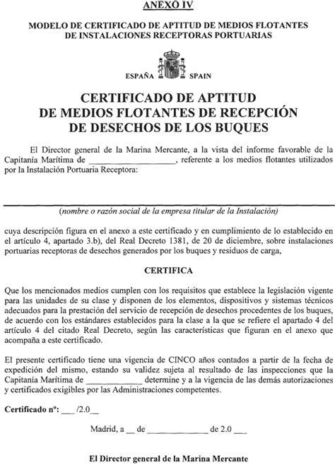 Modelo De Certificado De Aptitud De Medios Flotantes De Instalaciones | boe es documento boe a 2002 24910