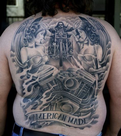 black and grey harley tattoos amazing idea of biker tattoo on whole back tattooimages biz