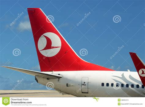 plane  turkish airlines blue sky editorial image image