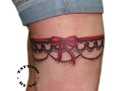 garter tattoos on thigh tattoos by nic nicola hanley lace garter