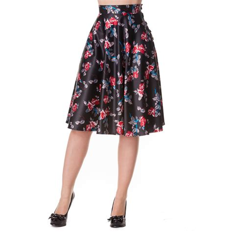 Midi Flower Punching Skirt 616 Rok Midi Rok Pesta Rok Berkualitas hell bunny bow bell floral rockabilly vintage 50s rock n roll jive swing skirt ebay
