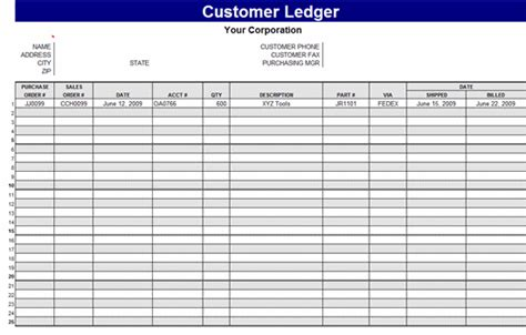 Ledger Card Template by General Ledger Template Cyberuse