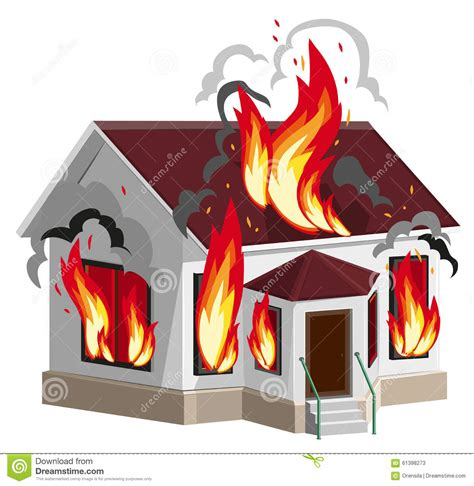 house fire insurance white stone house burns property insurance against fire home insurance stock vector
