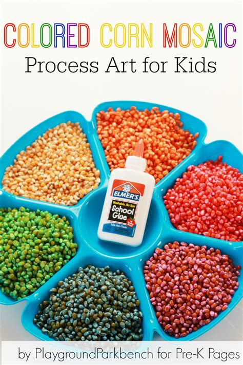 arts and crafts for pre k colored corn mosaic pre k pages