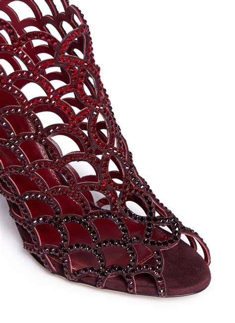 sergio rossi mermaid rhinestone cage sandals  red lyst