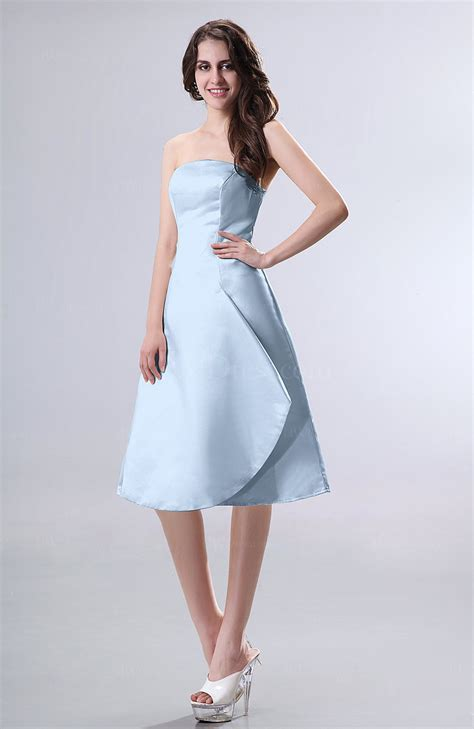 draped party dress ice blue simple a line strapless zipper knee length draped
